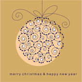 Christmas card with ball — 图库矢量图片