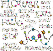 λέξη με λουλούδι γράμματα — Διανυσματικό Αρχείο