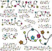 Palabra con letras de flor — Vector de stock