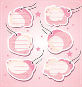 Set vector baby girl blank tags — Stock Vector