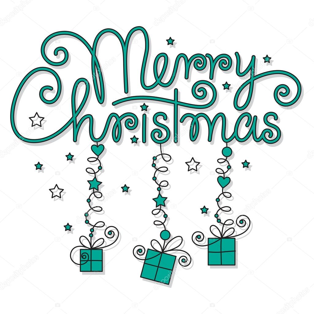 Vector, color editable and scalable merry christmas hand lettering — Stock Vector #14294765