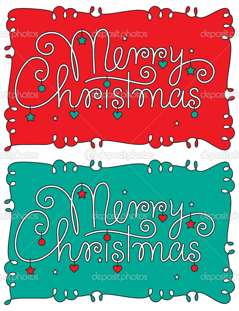 Vector, color editable and scalable merry christmas hand lettering — Stock Vector #14294787