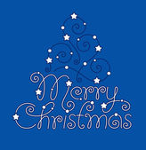 Merry christmas hand lettering and tree — Stock Vector
