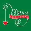 Merry christmas hand lettering with heart — Stock Vector