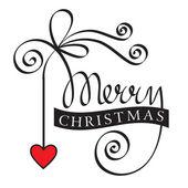 Mano de navidad feliz letras con corazón — Vector de stock
