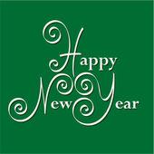 Feliz año nuevo de la mano para letras — Vector de stock