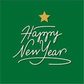 Feliz año nuevo mano deletreado con estrella de oro — Vector de stock