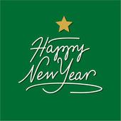 新年快乐手刻字与黄金星 — 图库矢量图片
