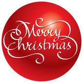 Merry christmas hand bokstäver i bollen — Stockvektor
