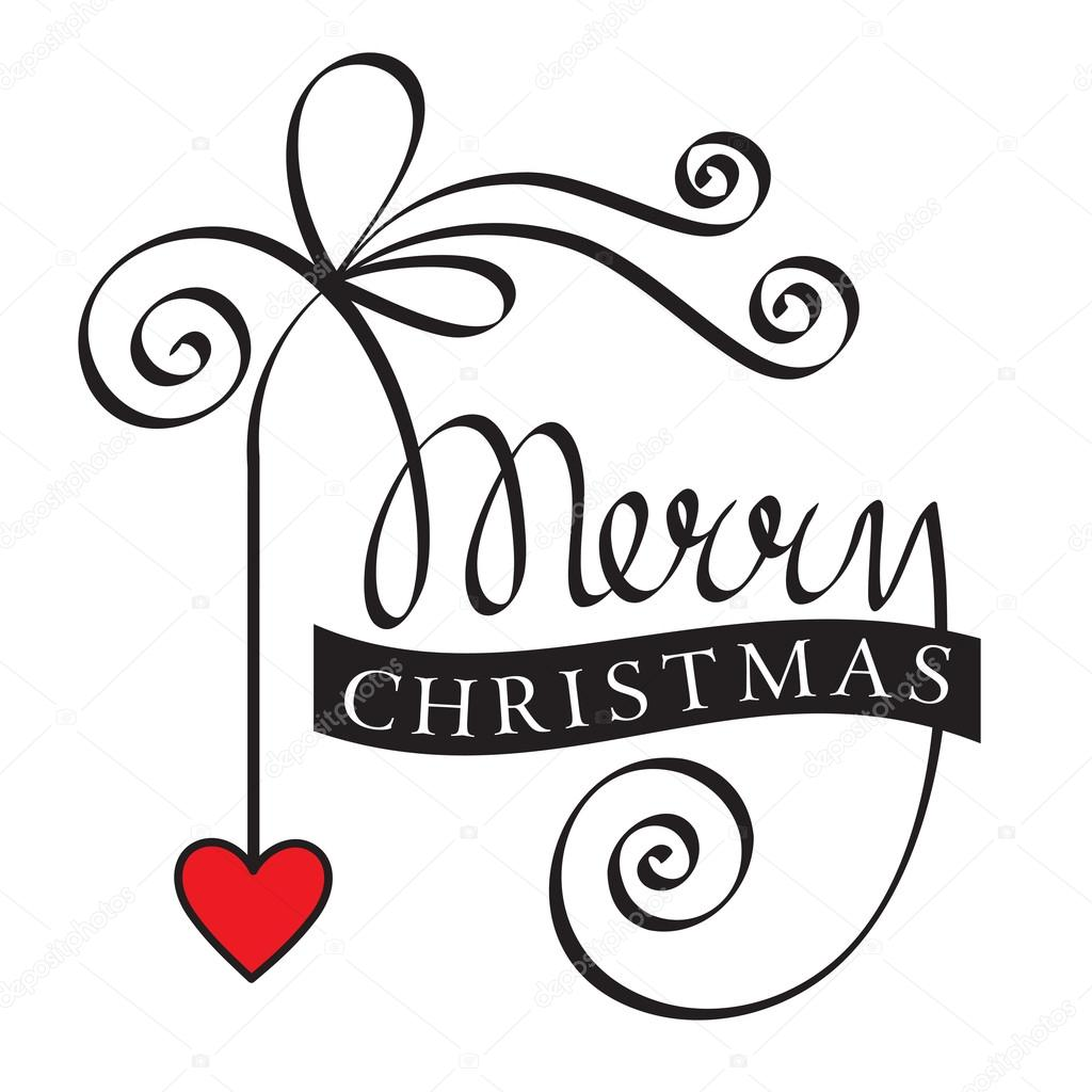 merry christmas hand belettering met hart stockvector. Black Bedroom Furniture Sets. Home Design Ideas