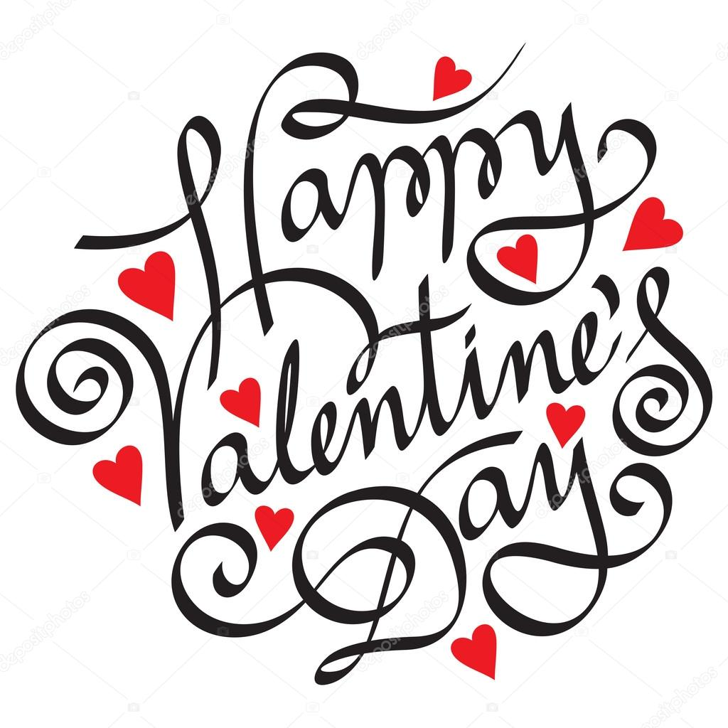 Editable and scalable hand lettering happy valentine's day — Stock Vector #18868231