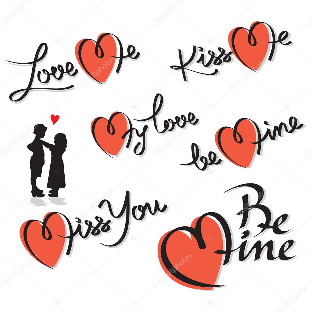 Set valentine hand lettering; editable and scalable vector  Stock Vector #19111501