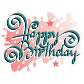Feliz cumpleaños mano letras - caligrafía hecha a mano, vector (eps8) — Vector de stock