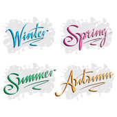 Seasons inscriptions hand lettering — Stock Vector