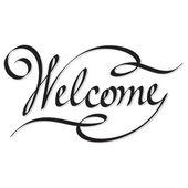 Inscripción de rotulación de vector mano bienvenido — Vector de stock