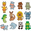 Set funny cartoon animals — ストックベクタ