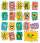 Conjunto de dibujos animados divertidos animales — Vector de stock