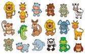Conjunto animais engraçado dos desenhos animados — Vetorial Stock