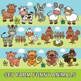 Conjunto de dibujos animados divertidos animales de granja — Vector de stock