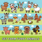 Set funny cartoon farm animals — Stock Vector
