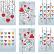 Stock Vector: Set of six greeting romantic cards