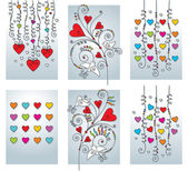 Set of six greeting romantic cards — Vector de stock