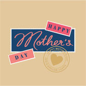 Happy mothers day hand lettering, postage stamp and postmark — Stock Vector