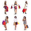 Collection of lovely womans with shopping bags — Stock Photo #12376893