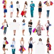 Stock Photo: Collection of models in various situations: doctor,shopping,bus iness women