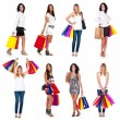 Great collection of beautiful shopping women in different position. — Stock Photo #12377000