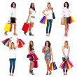 Great collection of beautiful shopping women in different position. — Stock Photo