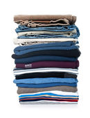 Stack of clothing isolated on white — Stock Photo