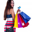 Foto Stock: Womwith shopping bag