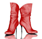 Female red boots isolated on white background — Stock Photo