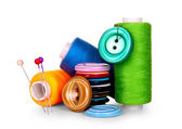 Buttons and skeins of thread on white background — Stock Photo
