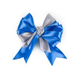 Beautiful blue satin gift bow, isolated on white — Foto Stock