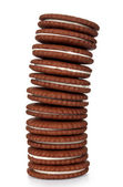 Biscuit cookies stack isolated on white background — Stock Photo