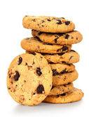 Chocolate chips cookies isolated on white background — Stock Photo