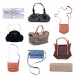Set of multicolored female bags on a white background — Stock Photo #13134446