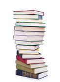 Pile of books on a white background — Stock Photo