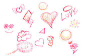 Hand-drawn hearts, and other doodled elements — Stock Photo