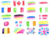 Collection of flags - drawing pencil — Stock Photo