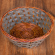 Stock Photo: Empty basket isolated on wooden background