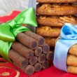 Stock Photo: Milk and cookies for SantClaus