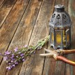 Vintage oriental lamp, sage plant and garden scissors on wooden table. still life concept. fine art. — Stock Photo
