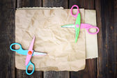 Colorful scissors and paper — Stock Photo