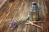 Sztuka orientalna lampa, zakładu szałwia i nożyce ogrodowe na drewnianym stole. koncepcja martwa. sztuki. — Zdjęcie stockowe