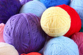 Stack of colorful balls of wool — Stock Photo