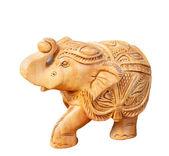 Wooden carved elephant isolated on white background — Stock Photo