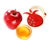 Jewish New Year - Rosh Hashanah , apple with honey isolated — Stock Photo